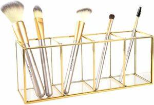 XUYI Porte-Pinceau de Maquillage en Verre conteneur de Stockage Anneau Porte-Boucle d'oreille en Verre Transparent Porte-Crayon décoratif Affichage de beauté
