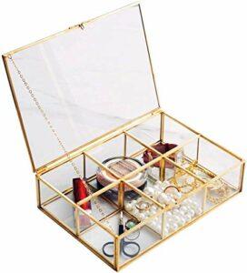 XUYI Vintage boîte en Verre Verre Clair et Laiton Stockage en métalet Maquillage cosmétique Porte-Pinceau Organisateur Affichage de beauté