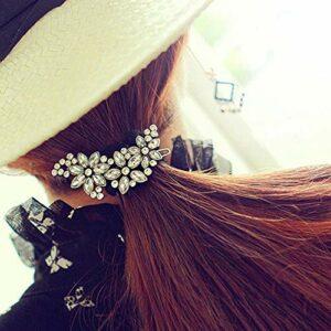 YHN Belles Pinces à Cheveux Femmes mariée Demoiselle d'honneur Strass Fleur Cristal Pince à Cheveux Peigne Bijoux, Blanc