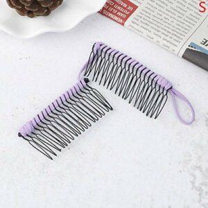 YHN élastique Vintage Pince à Cheveux Double Peigne Accessoire de Cheveux Pince à Cheveux Extensible Peigne Outils de Coiffure, S Violet