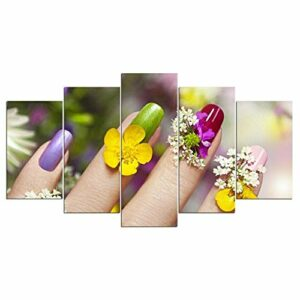 yuanjun Salon de beauté Ongles manucure 5 pièces Toile Mur Art Affiche Impression décor à la Maison
