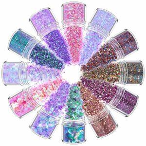 YUEMING 12 Boîtes Paillettes Glitter, Paillettes Ongles Chunky Sparkle Glitter Set pour Le Mascarade Party Visage, Cheveux, Corps, Joues et Ongles, Beau Sparkling Decoration Poudre