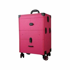 YWAWJ Maquillage Chariot à Main Maquillage Professionnel Laminage Case Artiste Salon Portable Voyage Beauty Studio Maquillage Voyage Trolley Cosmetic Case Organisateur (Color : Red)