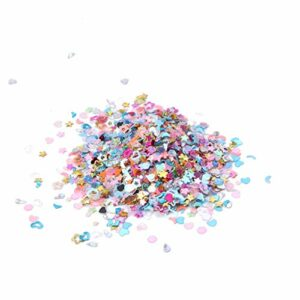 ZOUD Lot de 5000 pièces en plastique pailleté pour décoration d'ongles Motif cœur étoile fleur