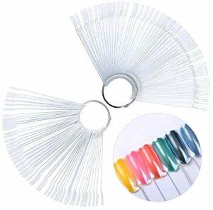 100pcs Présentoir Vernis à Ongle, Batonnets Presentoir Faux Vernis A Ongles Capsules Eventail Pratique Forme Batonnets Transparent Outil pour la Pratique Nail Art Designs