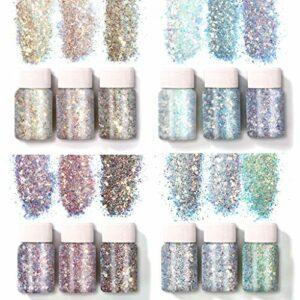 12 couleurs holographique Chunky Glitter Paillettes Pigment Poudre Ensemble pour Visage Corps Yeux Cheveux Nail Décor Résine Bijoux Fabrication Nail Art Kit