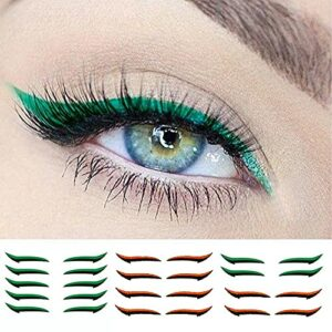 (12 paires) autocollants de modèle d'ombre à paupières, couleurs réutilisables d'autocollants d'eyeliner, autocollants réutilisables de maquillage de paupière (Vert + orange)