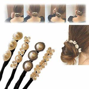 4 paquets Fleur paresseux Pinceaux à cheveux – pinces de cheveux de la fleur de perles, certiers à griffes rétro, têtes de viande antidérapante Pinceaux de poils pour femmes accessoires pour les cheve