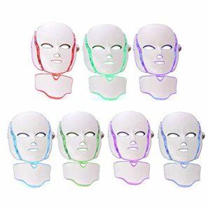 7 Couleur LED Lumière Masque Photon Cou du Visage Masque Rajeunissement peau Soins Visage Traitement pour Anti-âge,Contraction,Cicatrices, Blanchiment