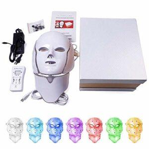 7 couleurs LED masque facial LED coréen photon thérapie visage masque machine de thérapie de la lumière de l'acné masque de beauté du cou LED masque