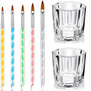 7 Outils de Soins de Manucure d'Art, 2 Bol d'Art d'Ongles Transparent en Crystal Verre Dappen Plats 5 Conception en Acrylique 3D DIY Brosse de Peinture Dessin en Gel UV pour Noël et Halloween