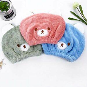 Abcsea 2 pièces serviette turban pour cheveux pour enfant, serviette pour secher cheveux rapide, Séchage Rapide des Cheveux, serviette à cheveux à séchage rapide, sèche cheveux enfant, bleu et rose