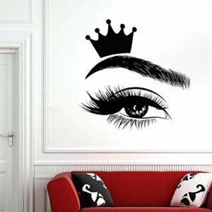 AGiuoo Stickers muraux Cils Cils fenêtre Vinyle Autocollant Salon de beauté Femme Cils Sourcils Sourcils Art décoration intérieure Couronne Murale 57×57 cm