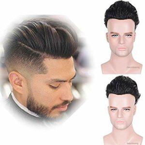 Auspiciouswig Naturel Cheveux humains de remplacement de pièces pour homme postiches Perruques Système de peau mince pour homme 25,4 x 20,3 cm (10×8 thin skin, natural colour)