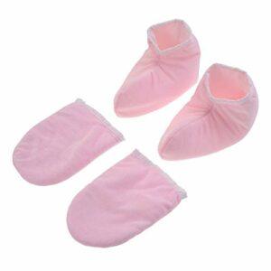 Beaupretty 2 Paires de Gants Hydratants Gants de Cire de Paraffine Traitement de Bain Gants en Tissu Éponge pour Les Mains Pieds Spa Beauté Rose