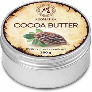 Beurre de Cacao 200g – Burkina Faso – Pur & Naturel – de Théobroma Cacao – Bons Bénéfices pour la Peau – Cheveux – Visage – Corps – Soin des Lèvres – Beurres de Cacao