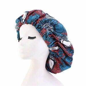 Bilibony Bonnet de Sommeil, 2pcs Extra Grand Modèle De Nuit À Double Couche Imprimé Imprimé en Tissu Stretch-Bretelle Chapeau De Nuit (Color : J, Size : Adjustable)