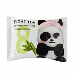 BOM Eight Tea Lip n Eye Remover Pads Lingettes démaquillantes imperméables, yeux et lèvres au thé vert, 30 unités