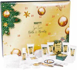 BRUBAKER Cosmetics – Calendrier de l'Avent/Noël 2020 – Contient 24 Produits de Bain & Beauté – Coffret XXL de Bien-être – Doré – Idée Cadeau Femme & Fille