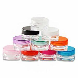 Cestor 10 Pcs 3G Couleur différente Pots Cosmétiques Vide en Plastique Clair De Voyage Conteneurs Cosmétiques pour Maquillage,Crème,Baume à lèvres,Pot Échantillon