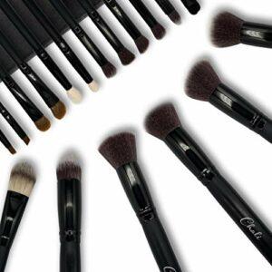 Chali® Pinceaux Maquillages Kit 18pcs avec Pochette, Pinceau Maquillage pour Fond de Teint, Poudre, Fard à Paupières, Blender, Contouring, Anti Cernes