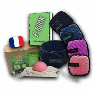 Coffret de démaquillage de 4 lingettes coton démaquillantes visage microfibre double face lavables et réutilisables + 1 sac de lavage écologique + 1 bandeau pour cheveux + 1 Eponge de Konjac + 1 EBOOK