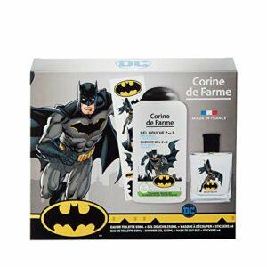 Corine de Farme – Batman Coffret cadeau – Parfum enfant – Gel douche – Stickers – Masque super héros – Fabrication française