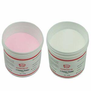 Coscelia Clair Rose 120g x 2 Pots Poudre Acrylique pour Ongle Soins pour les Ongles Résine Kit Nail Art Débutant
