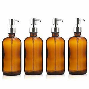 Cosmétiques Vide Bouteille de pompe en verre ambre de 4pcs 500ml avec pompe à lotion en acier inoxydable pour salle de bain Huiles essentielles Shampooing Distributeur de savon liquide Étanches