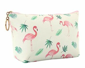 Cosmétiques Zipper Sac Pochette Flamingo Sac de Maquillage Sac à Cosmétiques Pliable Imperméable en Cuir PU Sac de Voyage Rangement Cosmétique,Flamingo Blanc