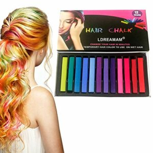 Craie de Cheveux,Colorations des Cheveux,12 non-toxique temporaire des cheveux Pastel Chalk Kit de beauté,carnaval,fête,Noël,Halloween,anniversaire