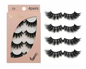 Faux Cils 4 Paires – Coupe de cils réutilisables professionnels pour le visage pour tous les yeux, Naturel épais fait à la main Cils 3D en Faux Visonpour un beau maquillage Look G106