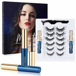 Faux Cils Magnétique, Winpok 3D Naurel Magnétique Eyeliner Kit, 6 Styles Faux Cils Réutilisables professionnels, Facile à Porter, Imperméable, Sans Colle, Avec Des Pincettes(6 Paires)