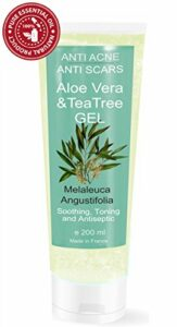 Gel Hydratant à l' Arbre à Thé (huile de théier) et Aloe Vera 200 ml – 100% Natural Hydratant Facial et Corps Unisex