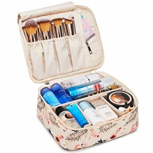 Grande trousse de maquillage de voyage pour femmes et filles (Flamant rose beige)