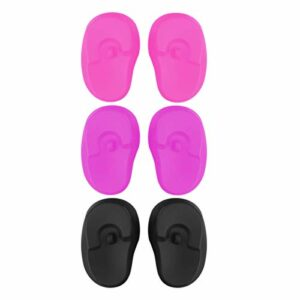 Healifty 3 Paires de Bouchons de Protection D'oreille en Silicone Couvre-Oreilles Imperméables pour La Douche de Teinture Capillaire (Noir Rose Violet)