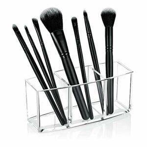 Hekyip Porte-pinceaux de maquillage transparent 3 fentes en acrylique pour pinceaux de maquillage