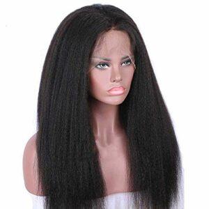 HNWNJ Perruques longues et crépues avec dentelle frontale pré-épilées 33 x 10 cm avec cheveux bouclés pour femmes noires sans colle Cheveux noirs naturels Densité 130 % 66 cm
