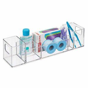 iDesign organiseur salle de bain, bac de rangement en plastique avec 8 compartiments et poignées, rangement de salle de bain pour maquillage, médicaments, crèmes, etc., transparent