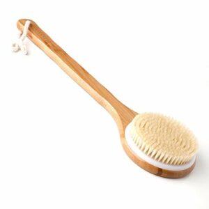 Ithyes Brosse pour le corps – Brosse à dos – Brosse de bain en bambou – Manche long – Poils naturels – Massage exfoliant – Améliore la circulation sanguine et la cellulite