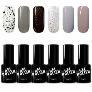 KADS Vernis UV Gel – Bling Soak Off Vernis à Ongles Gel Semi Permanent Nail Polish 9.5ml Couleur Nacre Glossy – Lot de 6