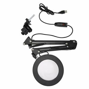 Lampe à loupe LED à montage sur pince, lumière de grossissement 5X et cou articulé pour beauté de tatouage de manucure de salon de manucure, 2 modes et dimmable