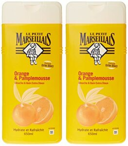 Le Petit Marseillais – Douche et Bain Extra Doux – Orange Pamplemousse Flacon – 650 ml – Lot de 2