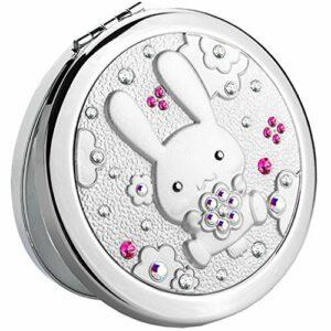 LLG Household Items& Miroir cosmétique Métal Portable Fold portable double face 2X Loupe for cosmétiques Soins de la peau et de rasage Voyager (Couleur: Gold) (Color : Silver)