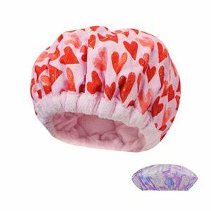 Locisne Capuchon thermique pour cheveux micro-lin,traitement thérapie thermique profondeur,capuchon conditionnement pour les vapeur cheveux micro-ondable,outils coiffure pour chapeau de spa,rose