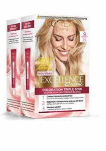 L'Oréal Paris – Excellence Crème – Coloration Permanente Triple Soin 100% Couverture Cheveux Blancs – Nuance 9 Blond Très Clair – Lot de 2