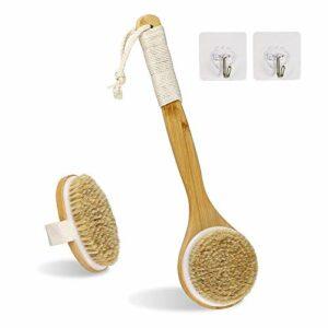 Lot de 2 brosses de bain pour le corps ou le brossage à sec ou humide, poils naturels pour exfolier la peau, stimuler la circulation sanguine, masser la peau et améliorer la santé de la peau