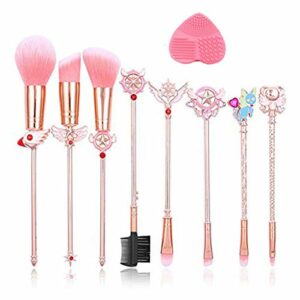 Lot de 8 pinceaux de maquillage, or cardcaptor Sakura / Sailor Moon Brand Pinceaux de maquillage Set Cosmetic Powder Foundation Brosse de fard à paupières Outil de maquillage A