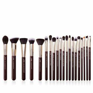 Lot de pinceaux de maquillage Jessup – Pour fond de teint, eyeliner, anti-cerne, tampon – Fabrication artisanale – Poils synthétiques – Kit d'outils de maquillage 20 pièces T281