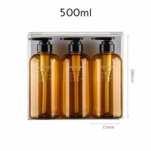 LQW HOME Cosmétiques Vide 3 en 1 Set 300ml 500 ML de Recharge vides Bouteille de Salle de Bains de Salle de Bains de shampooing de shampoing de shampooing Bouteille de Pompe en Plastique Étanches